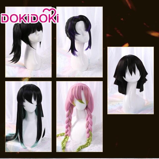 DokiDoki perruque de Cosplay Demon Slayer: Kimetsu no Yaiba, Tsuyuri Kanawo/Kochou Shinobu/Tokitou Muichirou/Iguro Obanai/Kanroji Mitsuri