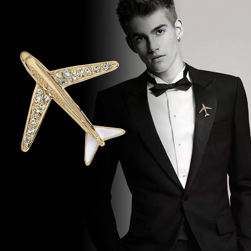 Korean High grade Crystal Airplane Brooch Pin Rhinestone Aircraft Lapel Pins and Brooches Men;s Suit Collar Needle Accessories|Brooches| |  - AliExpress