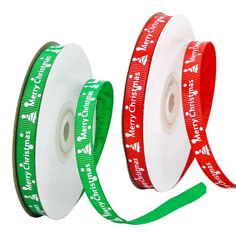 10 Rolls 25 Yards Merry Christmas Printing Red Green Grosgrain Ribbon Roll for DIY Crafts Gift Wrapping Xmas Decoration