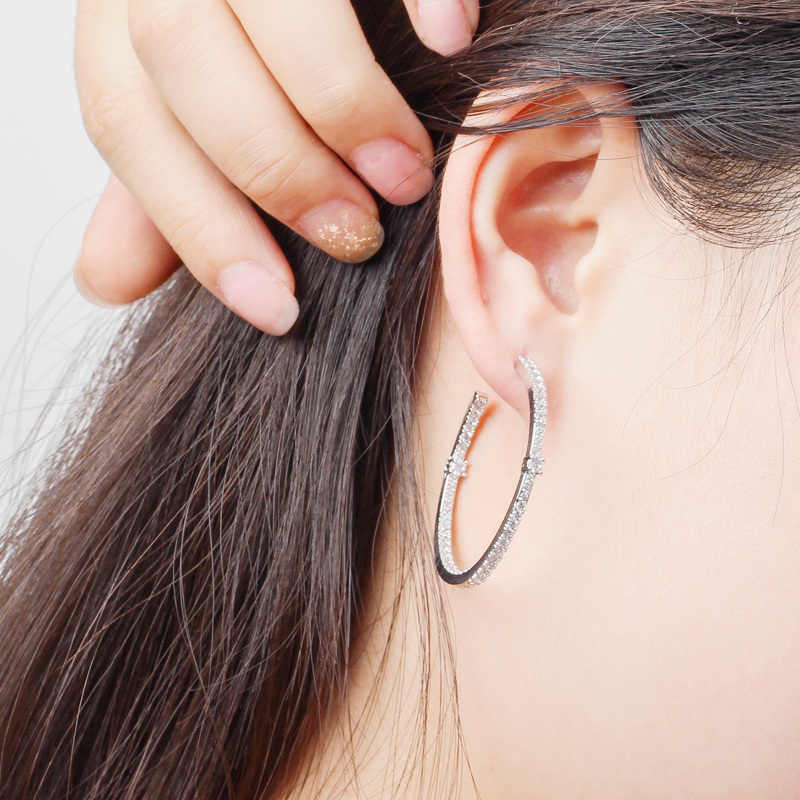 CWWZircons mode dames boucle d'oreille cercle rond Micro pavé cubique zircone cristal grand argent boucles d'oreilles cerceau bijoux CZ428