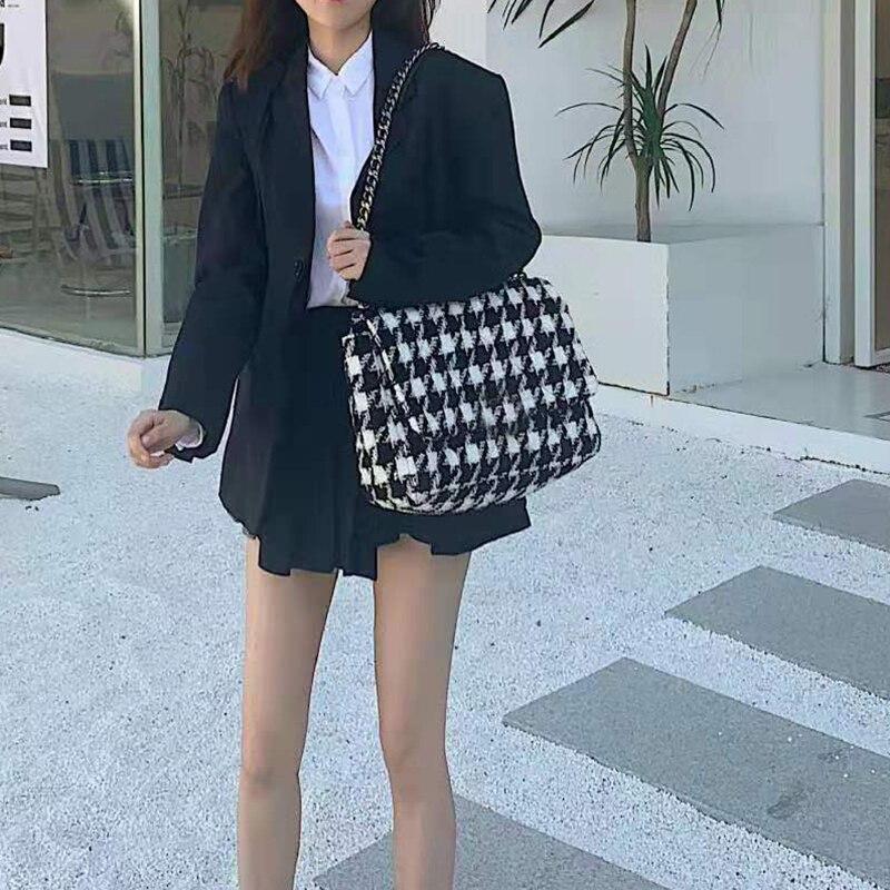 Bolsa de Qualidade Novo Inverno Xadrez Retro Feminino Quadrado Tote Woolen Designer Bolsa Senhoras Corrente Ombro Crossbody