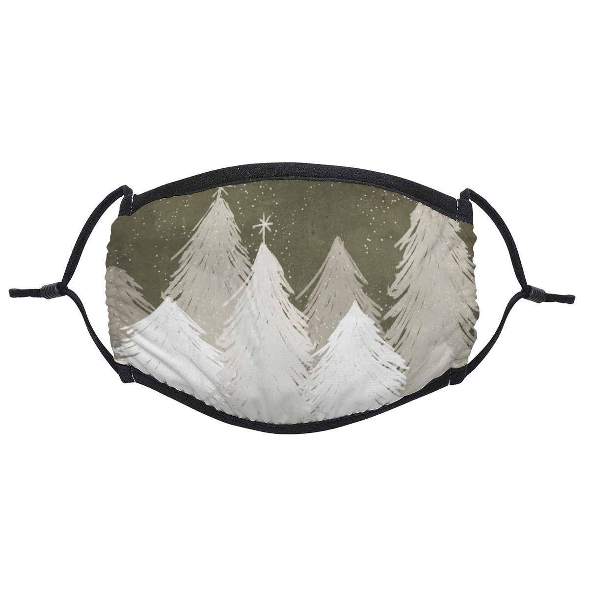 Christmas White & Gray Snow-Covered Pine Trees Adult ClothWomen  Black  Men MouthFaceMask ProtectionCover 10531