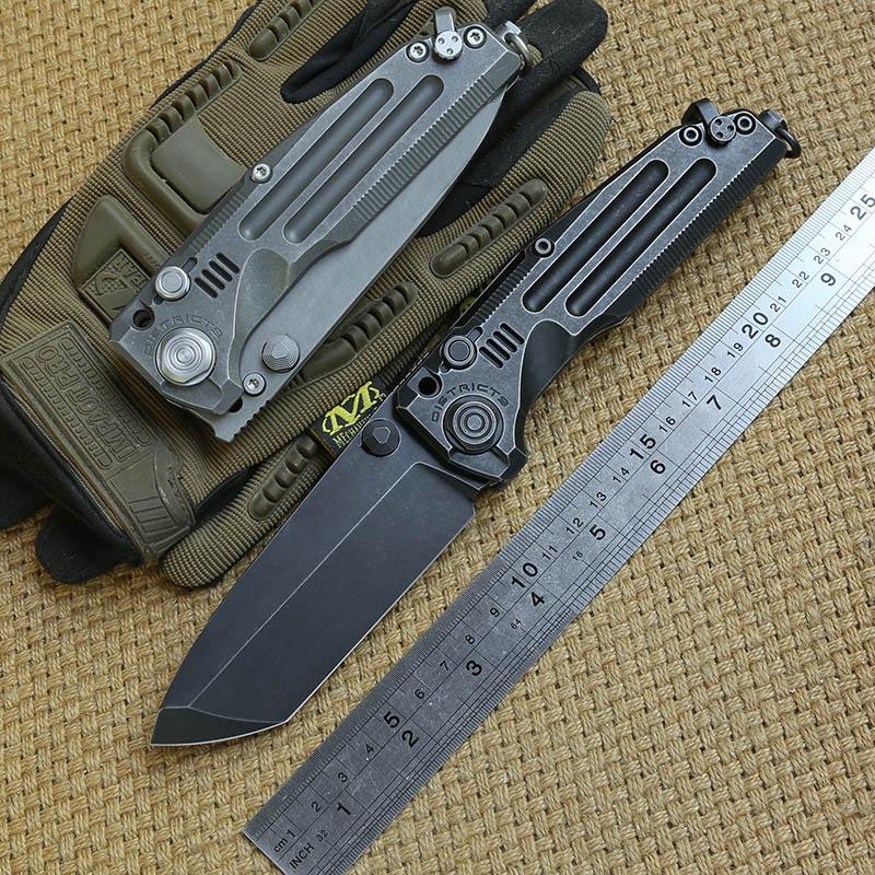 Cuchillo plegable pesado de explosión Original del Distrito 9, cuchillo M390 con mango de titanio, cuchillo de supervivencia al aire libre para campamento y caza, herramientas EDC Cuchillo de mariposa debajo de la pintura