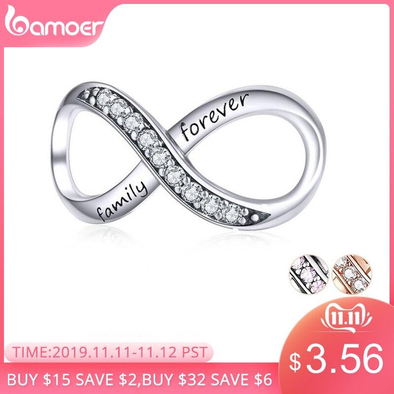 BAMOER gros breloques en argent Sterling réel 925 Infinity famille pour toujours cristal clair breloque pour Original 925 marque Bracelet SCC1146