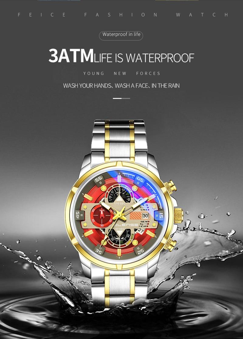 prova dwaterproof água relógio de pulso masculino