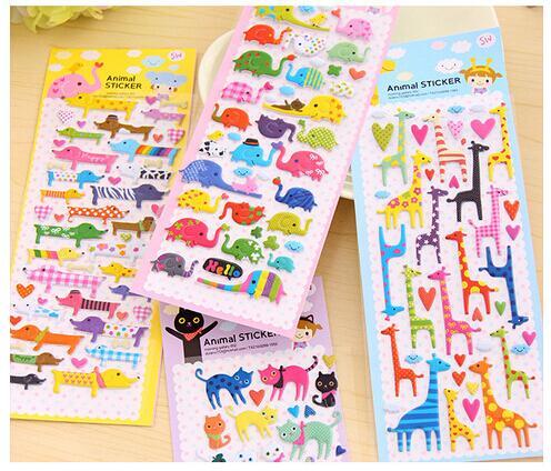 1pcs/lot Cartoon Animals 3D Sticker PVC DIY Sticker  Kids Children Gifts Decorative Sticker DIY Stationery Toy Stickers