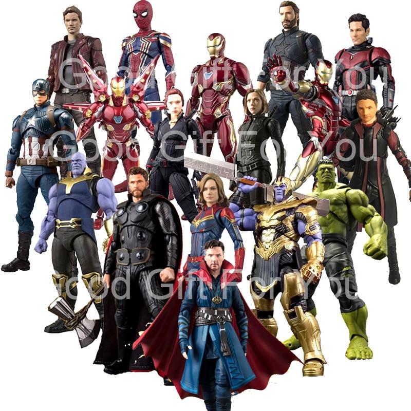 SHF Avengers 4 Endgame Marvel Captain America Black Widow Thanos Iron Ant Spider Man Star Load Huk Dr Stranger Action Figure Toy