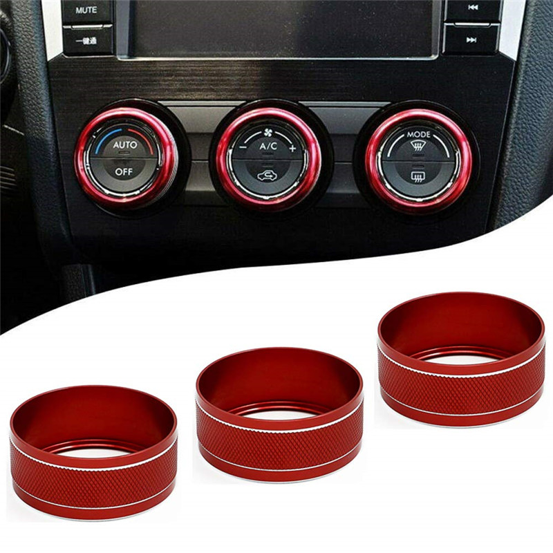 3PCS Red Interior Air Condition Adjust Button Cover Trim For Subaru XV 2018