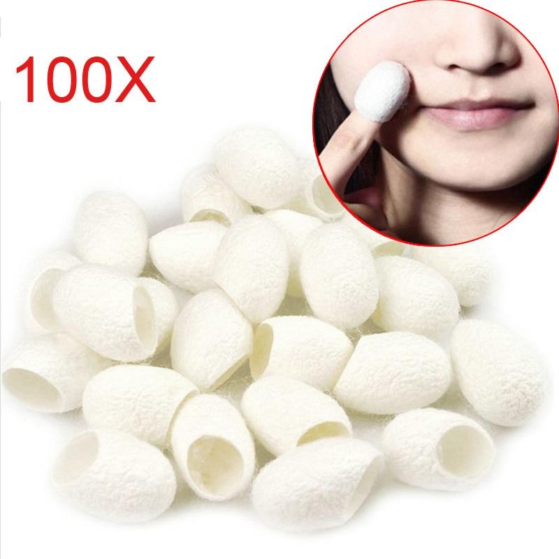 100Pcs Organic Natural Silk Cocoons Silkworm Balls Facial Skin Care Scrub Purifying Acne Anti Aging Whitening V9-Drop