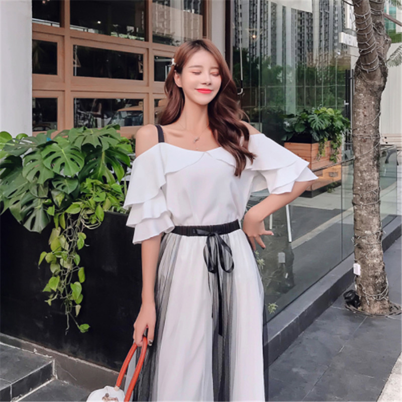 Two Piece Set 2020 New Summer Woman Skirts Suit Elegant Women Ruffle Sling Tops Casual Mesh Drawstring Waist Mid Long Dress