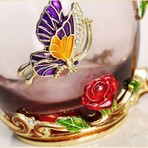 Image 3 - Red Blue Rose Enamel Crystal Tea Cup Coffee Mug Butterfly Rose Painted Flower Water Cups Clear Glass with Spoon Set Perfect Gift