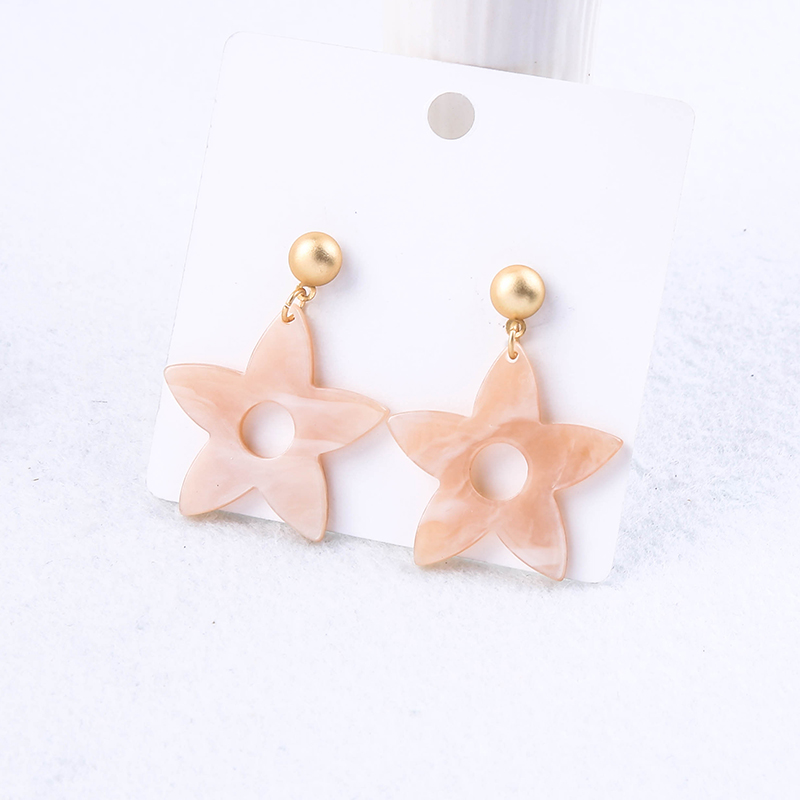 Light Acrylic Sheet Star Hollowed-out Round Hole Drop Earrings For Women Gifts Gold Color Fashion Jewelry Ear Pins Wholesale