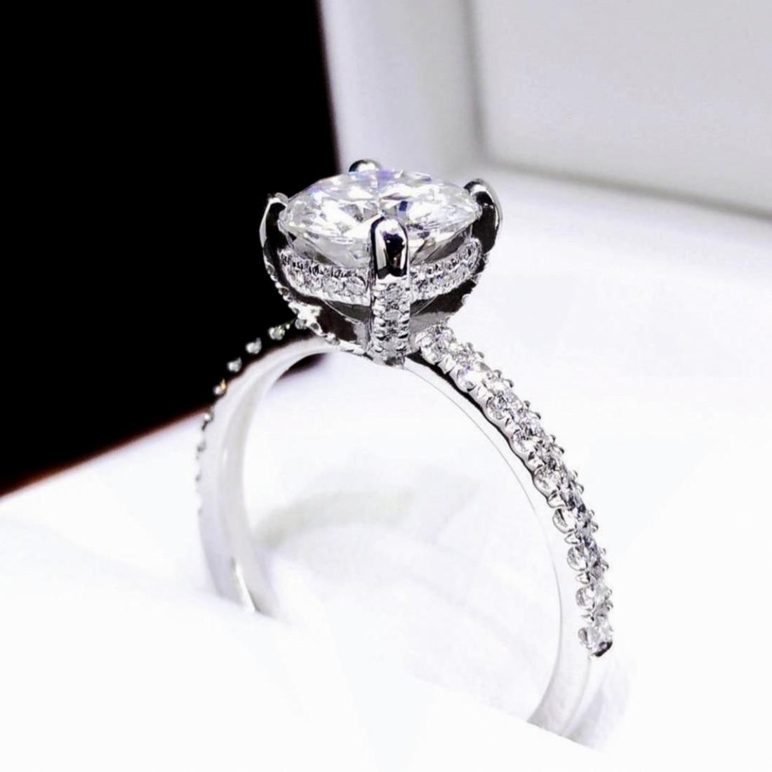 Original 925 Sterling Silver Ring finger 2Ct Cushion cut Diamond Wedding Engagement Rings For Women Topaz gemstone Fine Jewelry