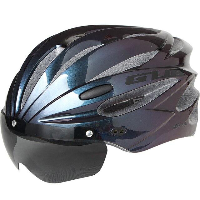Gub k80 capacete de bicicleta com viseira óculos magnéticos mtb estrada bicicleta ciclismo capacete de segurança integralmente-moldado 58-62cm para homem feminino 5