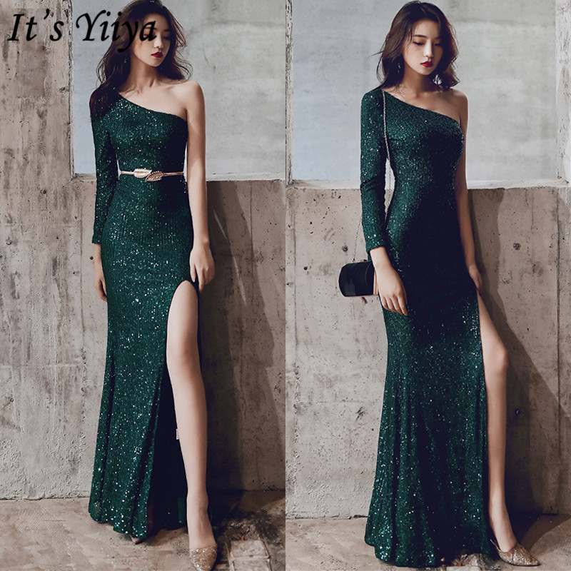 It's YiiYa Mermaid Dress One Shoulder Floor-Length Sequined Long Sleeve Robe De Soiree K093 Plus Size Zipper Dress Woman Party