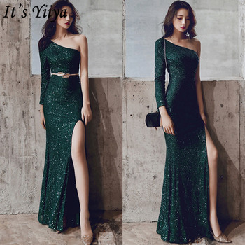 It's YiiYa Mermaid Dress One Shoulder Floor-Length Sequined Long Sleeve Robe De Soiree K093 Plus Size Zipper Dress Woman Party