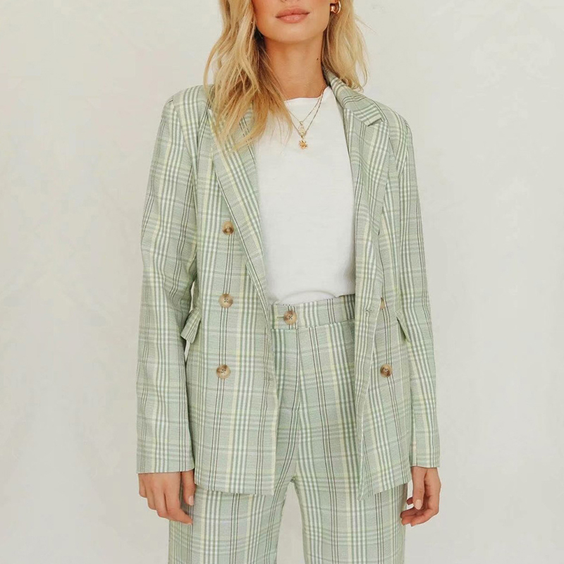 Office Lady Green Paid Blazer Jacket Women Autumn Winter Vintage Blazer Feminino Casual Fashion Coat Outerwear Mujer