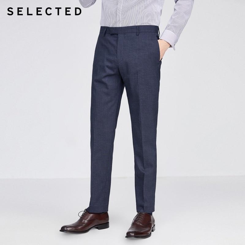 SELECTED Men's Business Casual Slim Fit Pure Color Suit Pants SIG|42016A504