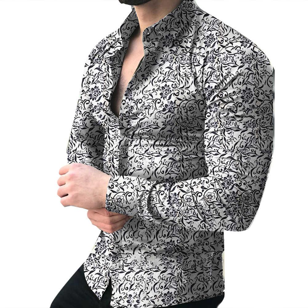 남성용 패션 셔츠 긴 소매 꽃 프린트 셔츠 가을 셔츠 남성 드레스 Camisa Button 옷깃 칼라 남성 Turn Down Collar