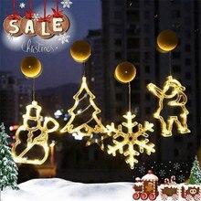 Christmas Lights Led Santa Fairy Decorative Light Curtain Garland Star Bells Decor For Home Fairy Lights Indoor Festival Light
