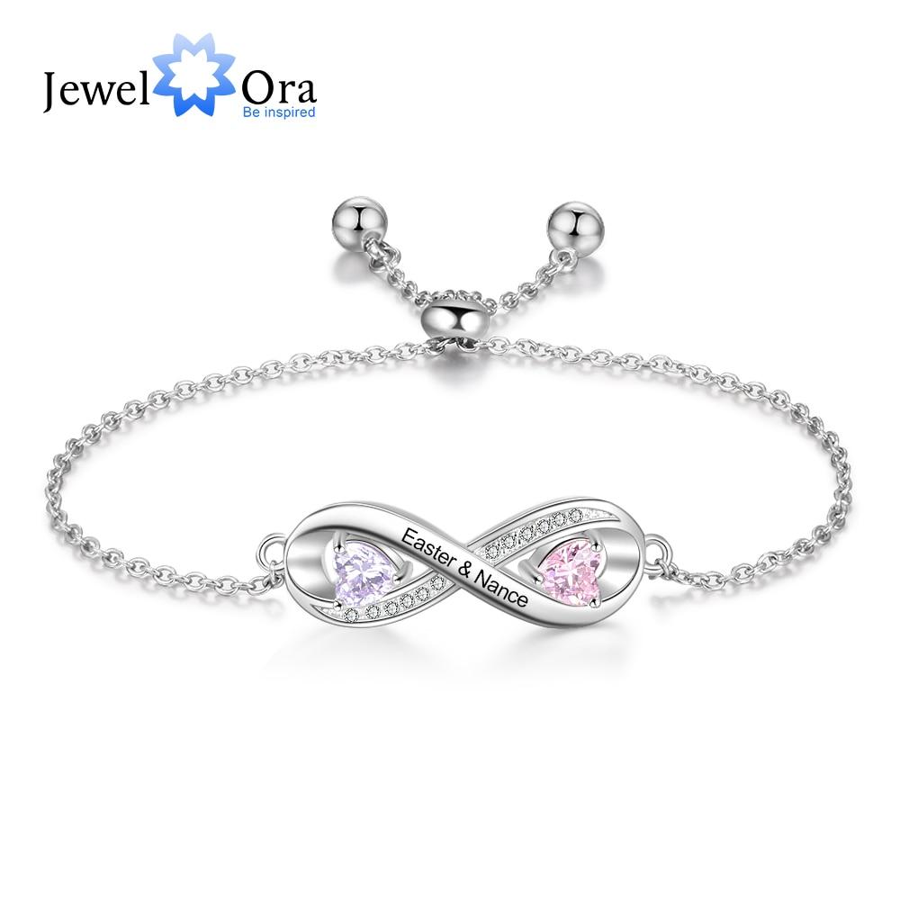 JewelOra Personalized Engraved Name Infinity Bracelet with 2 Birthstones Custom Zirconia Adjustable Chain Bracelets for Women