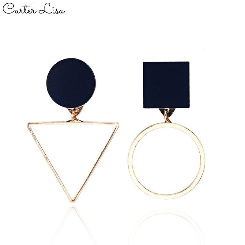 CARTER LISA HOT SALE 2019 New Fashion Black Triangle Round Geometric Asymmetrical Earring For Women Earrings Brincos Jewelry