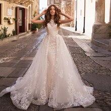 Apliques de renda sereia vestidos de casamento, com miçangas cristal trem removível 2020 china shop online vestido de noiva sereia