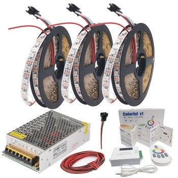 WS2812B WS2812 RGB Led Strip Lights Colorfulx1 RGB Led Music Controller DC5V Led Transformer Kit 5m 10m 15m 20m 30Leds/m 60Leds/