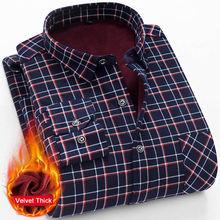 Зимние теплые мужские рубашки размера плюс 5xl вельветовые толстые модные клетчатые офисные рубашки с принтом Мужские брендовые рубашки с длинным рукавом мужские рубашки