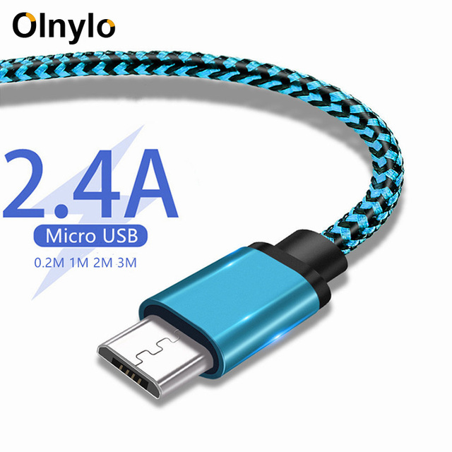 Olnylo Micro USB Cable Fast charging Braided Data Cord For Samsung S7 Huawei Xiaomi Redmi Note 5 Android Microusb Phone Cables