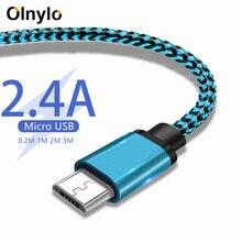 Olnylo مايكرو USB كابل شحن سريع مضفر بيانات الحبل لسامسونج S7 هواوي شاومي Redmi نوت 5 أندرويد ميكروشب كابلات الهاتف