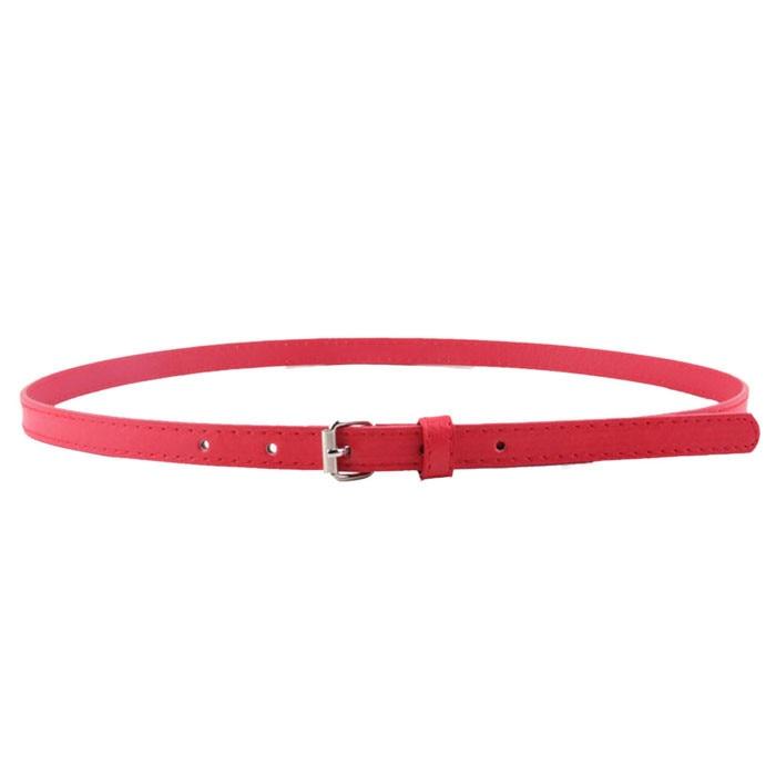 Small Steel Buckle Thin Waist Belt Woman Girl Candy Colours Strap PU Leather Belt Waistband For Dress Shirt Fashion Wild Belt