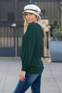Image 2 - לואיס ג ייסון חדש חולצה נשים בגדים חם אירופאי טהור צבע עגול צווארון פנס ארוך שרוול Loose שרוול למעלה נשים harajuku