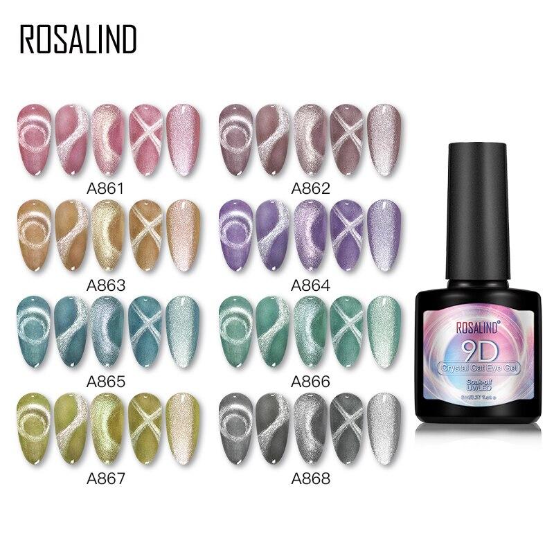 ROSALIND гель гибридные Лаки 9D кошачий глаз гель лак для ногтей кристалл УФ светодиодный лак для ногтей для маникюра Полупостоянный дизайн ногт...