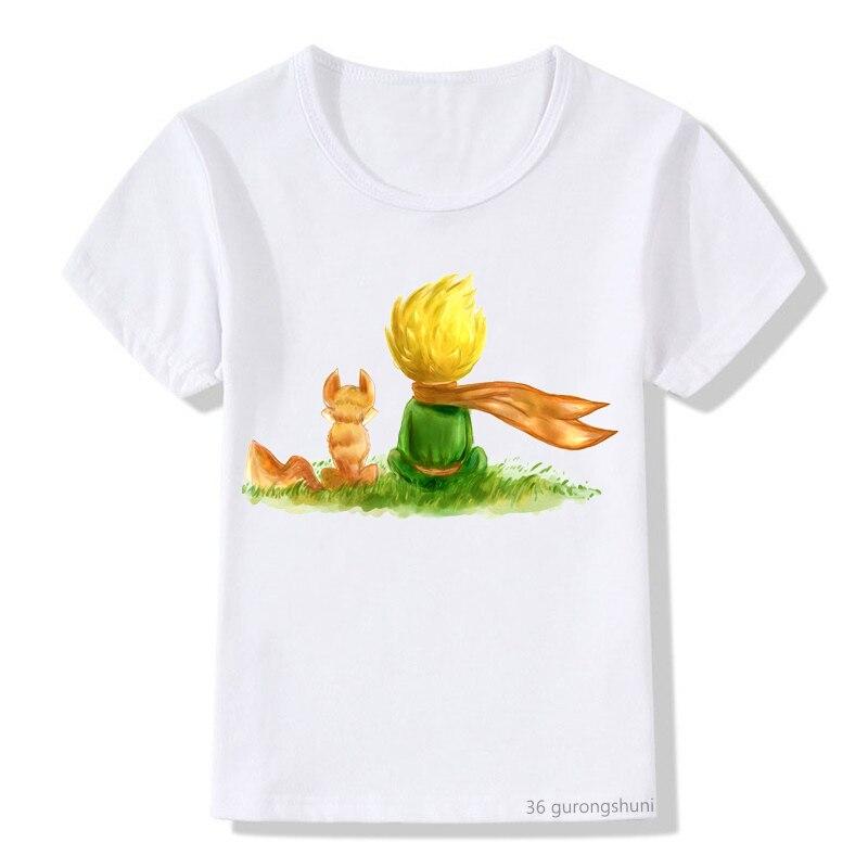 Детская одежда, футболка для мальчиков и девочек, милый мультяшный Топ Маленького принца, детская одежда с принтом, летний топ, Повседневная...