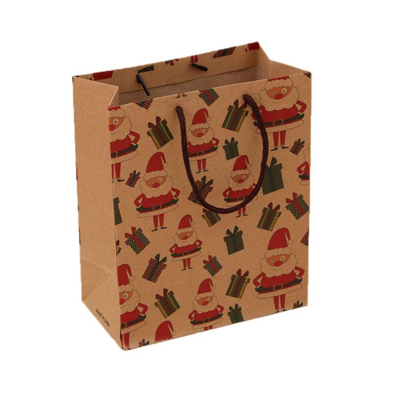 12pcs Christmas Present Gift Bags Kraft Paper Carrier Shopping Bag Santa Snowman