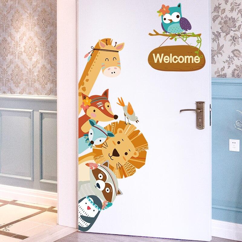 [SHIJUEHEZI] Cartoon Animals Wall Stickers DIY Children Mural Decals For Kids Rooms Baby Bedroom Wardrobe Door Decoration