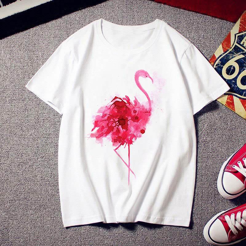 2020 Flamingo Beauty T-shirt Women Fashion Trendy 90 ′s Harajuku Short Sleeve T-Shirt White Summer T-Shirt Top 1
