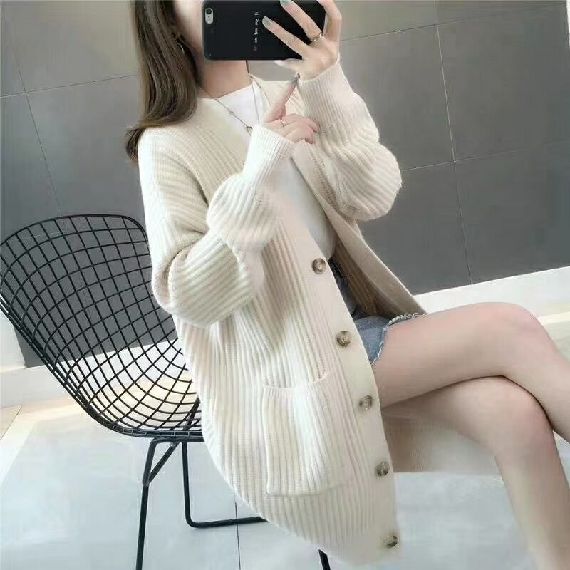 Autumn Sweater New Fashion Womens Solid Color Long Sleeve Sweater Top Casual Cardigan Coat Pocket Loose Cardigan 2019