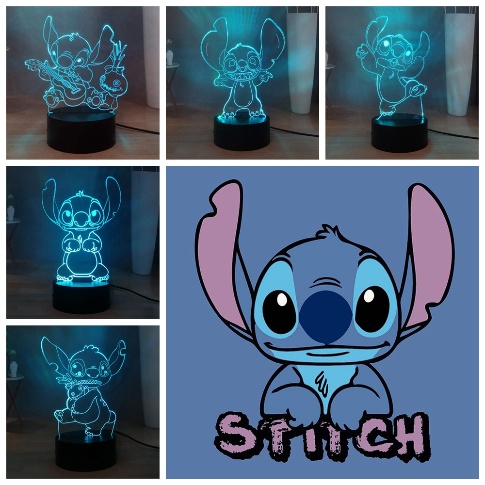 Cartoon Stitch 3D Illusion Table Lamp RGB Colorful LED Night Light  Atmosphere Decor Light USB Touch Bedside Lamp Birthday Gift