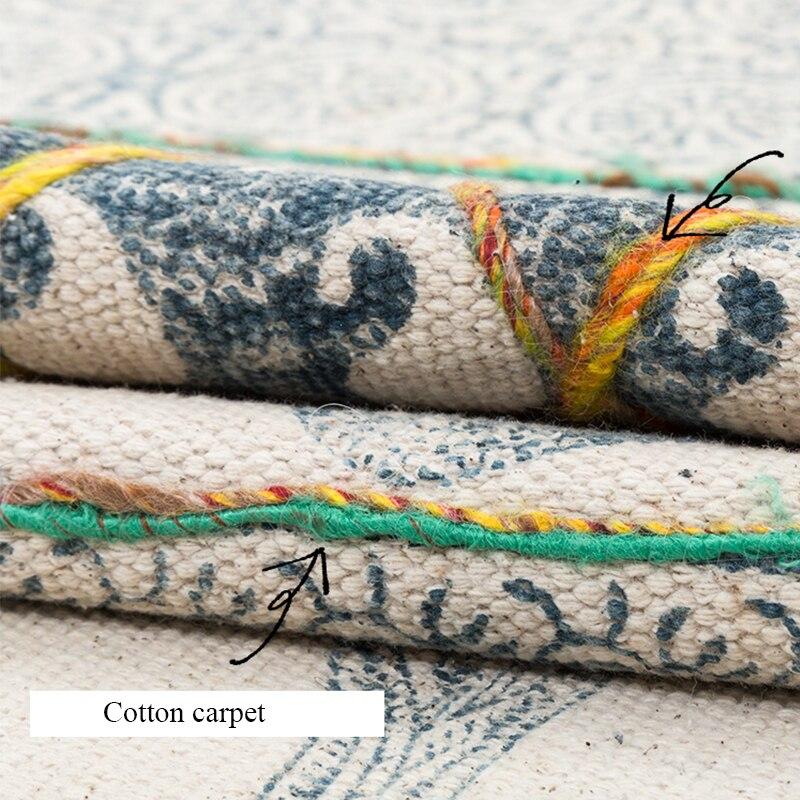 Tapis en coton pour salon inde importé maroc chambre tapis tissé à la main tapisserie avec gland bohème canapé thé Table tapis - 3