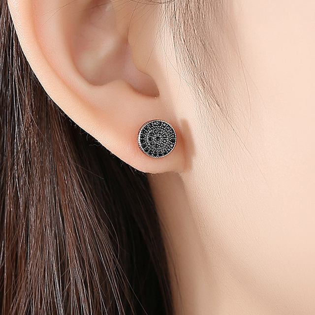 LUOTEEMI Elegant Small Round Stud Earrings for Women Dating AAA Black/White Cubic Zircon Three Color Fashion Jewelry Gift 1