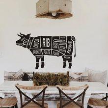 Autocollant mural en vinyle, décoration de cuisine, Restaurant, découpes de vache, Design boucherie, animaux, autocollant mural, coupes de corps de vache, Poter de fenêtre