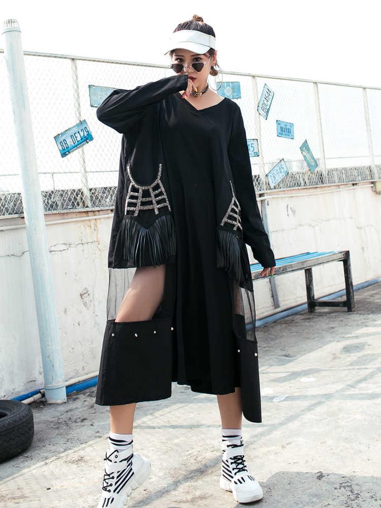 QING MO женское черное Сетчатое лоскутное Открытое платье с v-образным вырезом и длинным рукавом повседневное стильное свободное платье трапециевидной формы осень 2019 ZQY1327