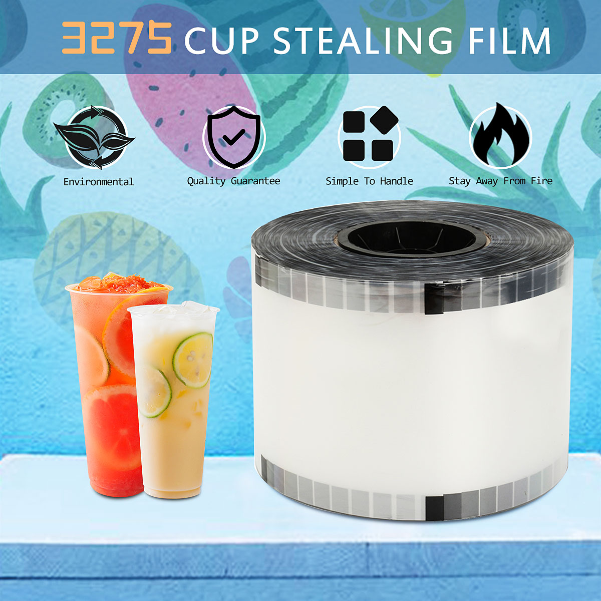3725 Cups Clear Cup Sealer Bubble Tea Juice Drink Film Cover Sealing Film For Cup Sealer Sealing Machine Cover 90-105mm Cup Dia