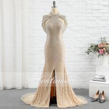 Элегантные Золотые стразы вечерние платья 2020 с высоким воротником