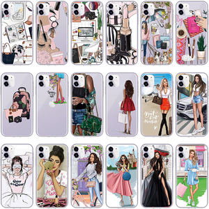 Black Brown Hair Girl Boss Queen Case For TPU iPhone 7 8 Plus 5SE 6 S 11 Pro Max XR XS X XS Max Shell For iPhone 11 Pro Max Case