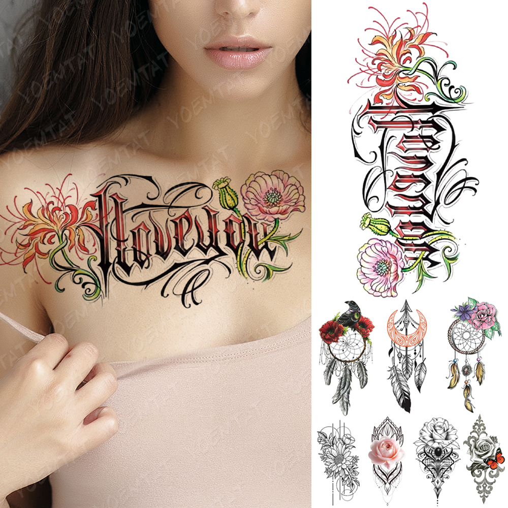Waterproof Temporary Tattoo Sticker Dreamcatcher Flowers Love Flash Tattoos Butterfly Lotus Body Art Arm Fake Sleeve Tatoo Women