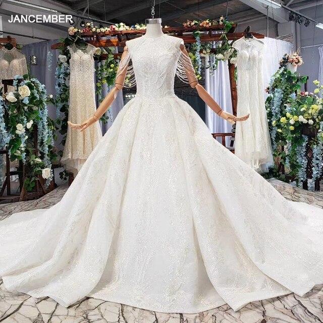 HTL620 vestidos de casamento com long train mangas beading lantejoulas zipper O Pescoço plissado vestido de noiva uma linha vestido de novia 2019