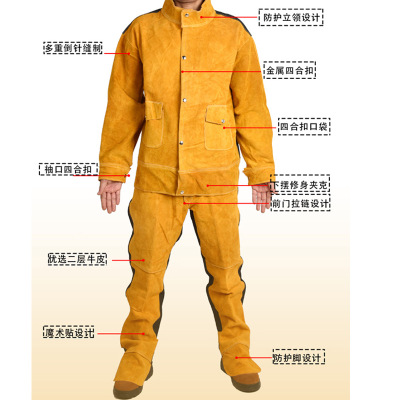 Customized Cowhide Electric Welding Work Clothes Argon Arc Welding Long Sleeve Protective Clothing Arc Spatter Resistant Leather